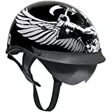 Outlaw T-72 Dual-Visor Glossy Motorcycle Half Helmet with Graphics of Viking Go - X-Large