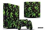 Designer Decal for PlayStation 4 SLIM System plus Two (2) Decals for PS4 Dualshock Controller - Weed Black