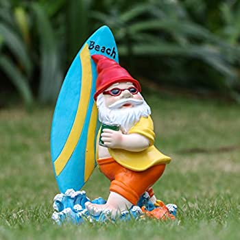 "Teresa's Collections 9"" Garden Gnome Statues,Beach Theme Gnome for Outdoor Patio Yard Decorations"