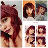 Nnzes Bob Curly Wig Synthetic Short Wine Red Wig
