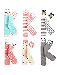 Julianana Kids Knee High Socks 6 Pack Cute Stockings for 3-8 Years Girls
