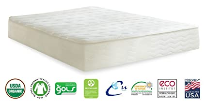 "PlushBeds Botanical Bliss Organic Latex Mattress, Full 10"" Medium, Pure Wool, Organic Cotton"