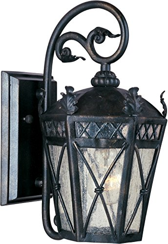 (Maxim 30454CDAT Canterbury 1-Light Outdoor Wall Lantern, Artesian Bronze Finish, Seedy Glass, MB Incandescent Incandescent Bulb , 40W Max., Dry Safety Rating, 2900K Color Temp, Standard Dimmable, Glass Shade Material, 3500 Rated Lumens)