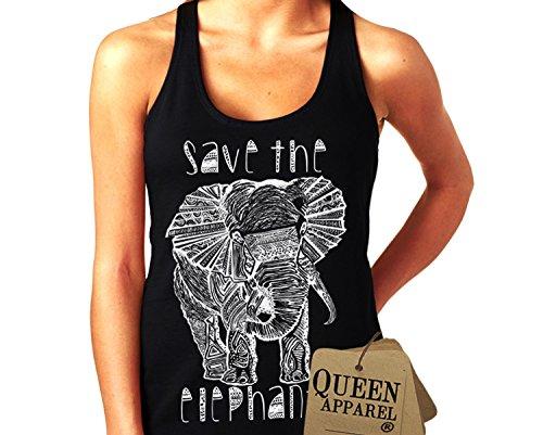 Queen Apparel- Save the elephants tank top U.S.A. womens (medium, black)