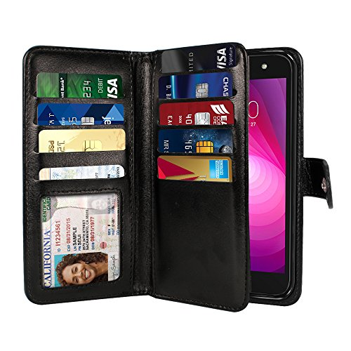 NEXTKIN Case Compatible with LG X Power 2 LV7 M320 5.5 inch, Leather Dual Wallet Folio TPU Cover, 2 Large Pockets Double flap, Multi Card Slots Snap Button Strap For LG X Power 2 LV7 - Black