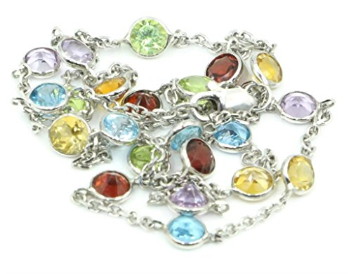 - Multi-Color Gemstones 16 Inches Necklace 14k White Gold Chain with Lobster Lock