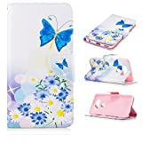 LG V20 Cases Wallet Stand,LG V20 Case Wallet Leather,Premium Hybrid Armor Case Cover For LG V20 Shock Proof With ID Credit Card Slot Fiolo Flip Cover Case For LG V20 Cell Phone-Butterfly Floral Flower
