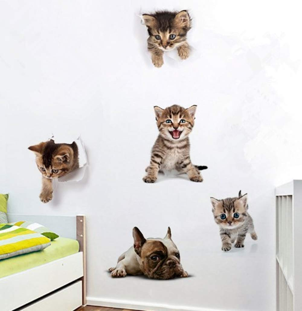 Amazon.com: 5 pegatinas 3D para pared de gatos y perros ...