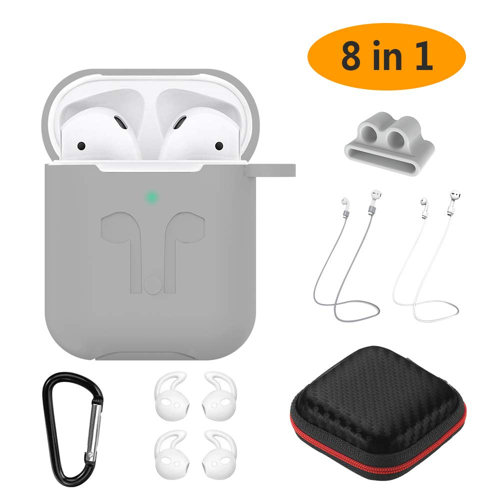 LED Visibile Protective 8 in 1 Auricolari Case Kit per Apple AirPods 2 2019 Portatile Ricaricabile AirPods 2 Cover Silicone Rosso AirPods Custodia Set GeeRic AirPods 2 Case