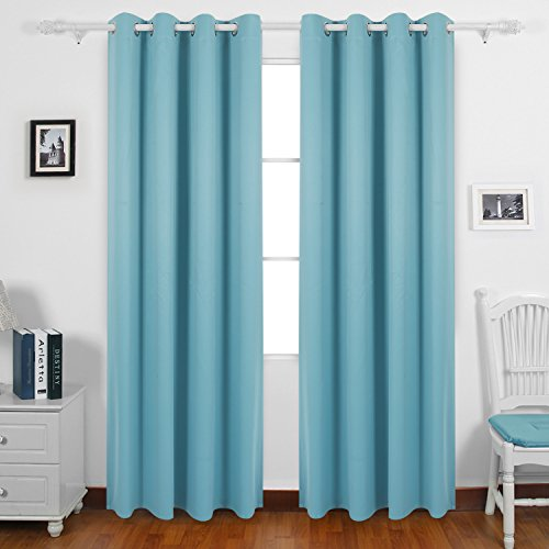 Deconovo Solid Color Thermal Insulated Blackout Curtains Blackout Drapes for Sliding Glass Doors 52 By 63 Inch Light Blue 1 Pair