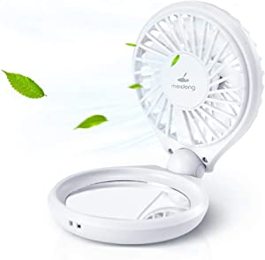 Meidong Portable Fan Mini Handheld Fan Personal USB Table Desk Fan with Makeup Mirror and Colorful LED Lights Rechargeable Electric Travel Fan for Office/Home/Traveling/Outdoor/Camping
