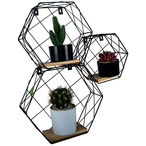 Casolly Hexagon Wall-Mounted Floating Shelves Metal Wire & Crude Wood, Set of 3, Black