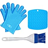 FoxChef Heat Resistant Silicone BBQ Oven Gloves for Grilling, Baking, Smoking, Kitchen, Grates, Microwaves, Stoves – Plus 1 Pastry Brush – 1 Heat Proof Potholder Pad (Blue) For Sale