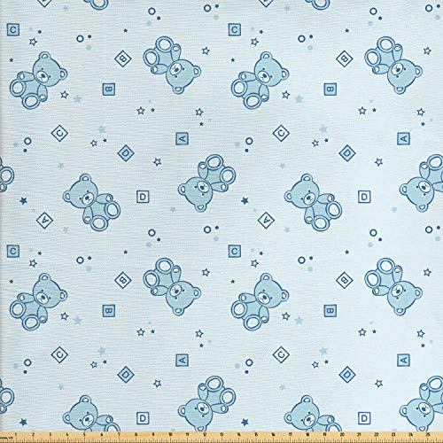 Ambesonne Nursery Fabric by The Yard, Teddy Bears and Toys with Letters on Children Imagery Baby Blue Background, Decorative Fabric for Upholstery and Home Accents, 1 Yard, Baby Blue Aqua