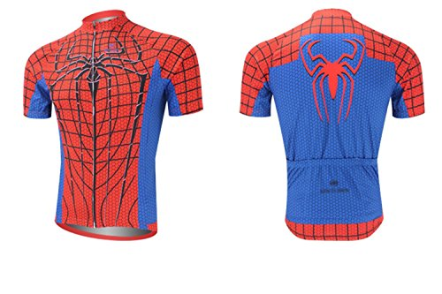 Cplus Sportware Men's Short Sleeve Spiderman Red Cycling Jersey Top XL