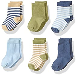 Touched by Nature Baby Organic 6 Pack Cotton Socks, Boy Stripes, 0-6 Months