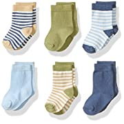 Touched by Nature Baby Organic Cotton Socks, Boy Stripes 6Pk, 0-6 Months