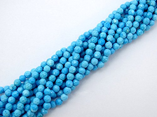 jennysun2010 Natural Stabilized Blue Turquoise Gemstone 2mm Faceted Round Loose Beads Length 15.5'' Inches (38.5cm) 1 Strand per Bag for Bracelet Necklace Earrings Jewelry Making Crafts Design Healing