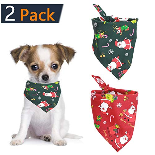 Santa Pattern Packet - 2pcs Christmas Dog Bandana Cat Triangle Bibs Pet Scarf 100% Cotton Soft Cute Red & Green Santa Claus Pattern Fit for Dogs, Cats, Pets Animals