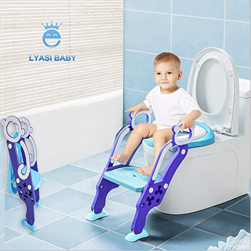(LYASI Potty Training Seat, Toilet Training Seat with Non-Slip Step Stool Ladder for Toddlers,Kids and Baby,Potty Seat with Step,Toilet Seat Chair)