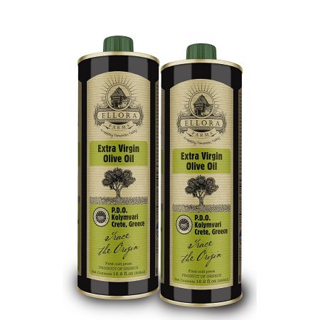 Ellora Farms | Certified Single Estate PDO Extra Virgin Olive Oil | 100% Traceable | Fresh Harvest & Cold Extracted | Born in Ancient Crete, Greece | 16.9 oz Tin (Pack of 2)