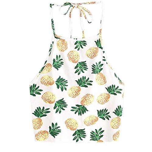 KESEELY Halter Blouse, Women Summer Sexy Short Hanging Neck Tee Pineapple Print Tank Top (S, Black)