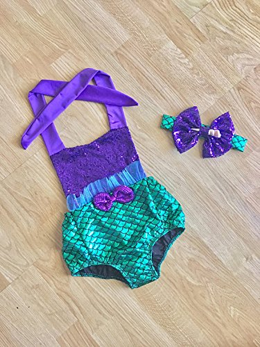 fc428202dd Amazon.com  Baby Swimsuit Toddler Girls Swimwear Kids Little Mermaid  Bathing Suit Romper First Birthday Outfit  Handmade