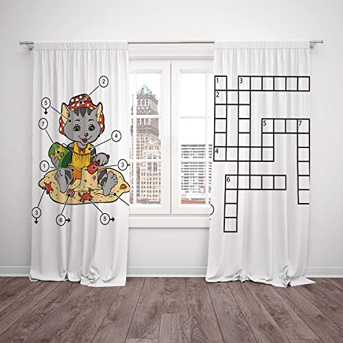 2 Panel Set Satin Window Drapes Kitchen Curtains,Word Search Puzzle Crossword Game for Children Cute Cat on Beach and Building Sand Castles Decorative Multicolor,for Bedroom Living Room Dorm Kitchen C