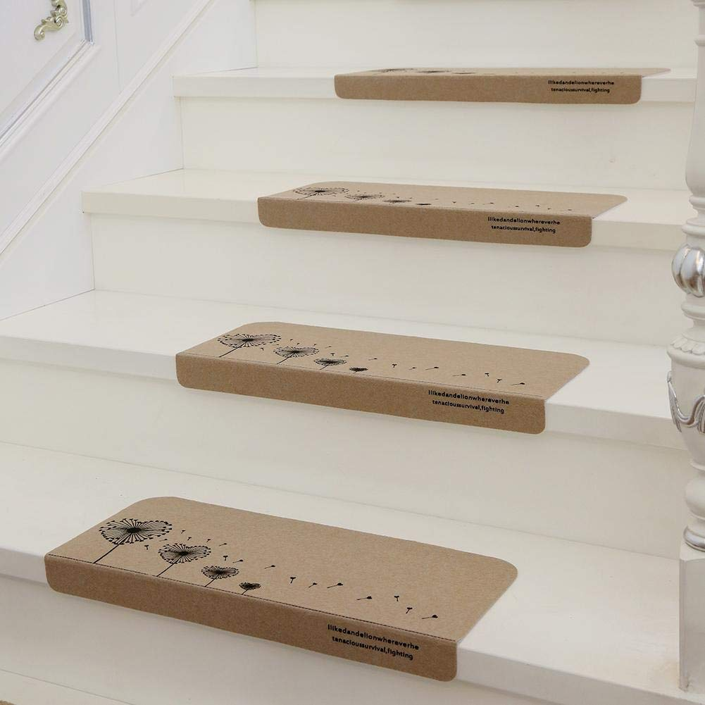 H-ONG 5 PCS Carpet Stair Threads Pads Self Adhesive Non-Slip Stair Tread Mats Love Heart Tree Rotating Solid Wood Staircase Step Rug Cover Pads Khaki
