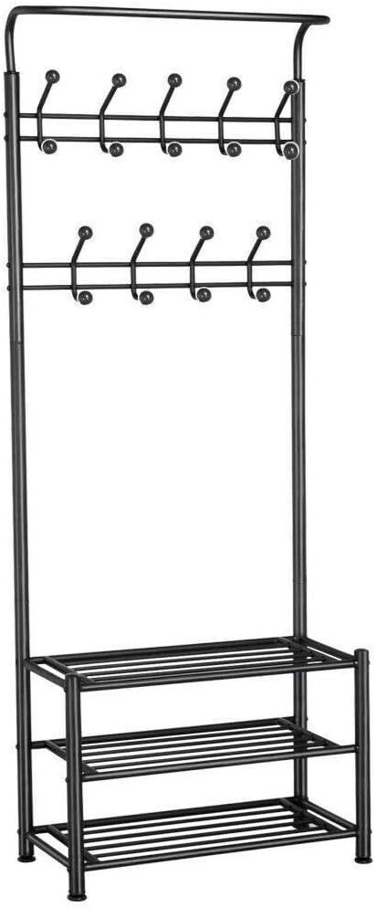 T-LoVendo 34.9 Perchero de Pie y Zapatero Estantería, Negro, 65 x 35 x 15 cm