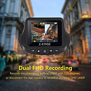 Z-EDGE S3 Dual Dash Cam - Ultra HD 1440P Front & 1080P Rear 150 Degree Wide Angle Dual Lens Car Camera, Front and Rear Dash Cam, Dashboard Camera with G-Sensor, WDR, 16GB card included