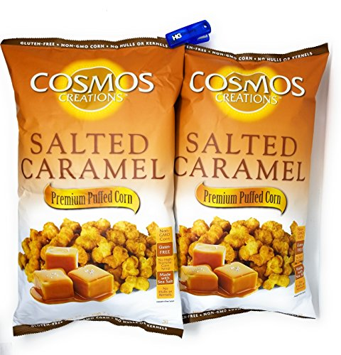 Cosmos Creations 25 Ounce Salted Caramel Puff Corn, Bonus One HG Grocery Bag Clip (Colors Vary), Almost Like - Corn Salted