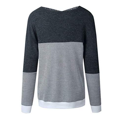 Longues À Dames Cou V Pull Creative Mode Hiver Casual Battercake Automne Grau Confortable Femmes Manches Et Sweat Tops n7Rz0wnqx5