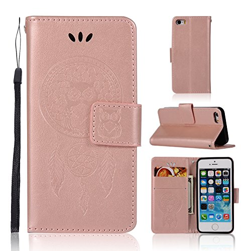 iPhone 5 Case, iPhone 5S Wallet Case, GPROVA Shockproof Wallet Card Holder Case with Credit Card Slots Detachable Cover Wrist Strap Handbag for iPhone 5/5S/5C/SE (Rose Gold) ()