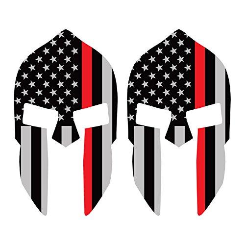 Two Pack Thin Red Line Subdued Spartan Helmet American Flag/Sticker FA Graphix Vinyl Fire EMT USA US fagraphix 3674FBFA-2-FA7825