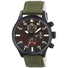 Torgoen Pilot T33 Series T33404 45mm Ion Plated Stainless Steel Case Green Nylon Mineral Men's Watch