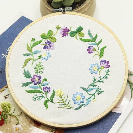 Embroidery Kit for beginners, Gift Set, Garland-Purple Design (No Frame) Set Needlepoint Kit