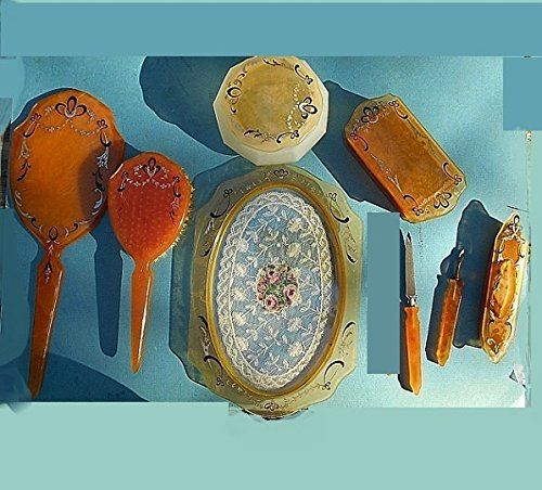 1930'S Amber Celluloid Deco Painted Hand Mirror, YOUR CHOICE of CAMEO, Bobbin Lace Vanity Tray, Jar, Hinged Box, Manicure Tools, 9 Pcs. SET 179.90 + Options - Painted Hand Mirror Vanity