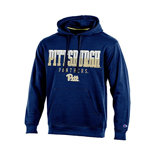 Champion (CHAFK) NCAA Pittsburgh Panthers Adult Men Pullover Hooded Fleece, Large, Navy (Panthers Ncaa Applique Pittsburgh)