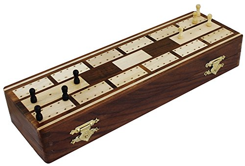 Christmas Game Gifts Board Game Travel Full Cribbage 2 Decks of Playing Cards Compartment - 8 Pegs Handcrafted
