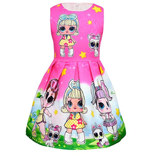 Zaring Little Girls Summer Floral Printed Sundress Toddler Clothes Halloween Dress Cosplay Party Costumes Doll Surprise (Rose red, -