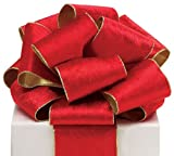 #100 Red Wired Velvet Ribbon with Gold Edge and Gold Backing. - 4W