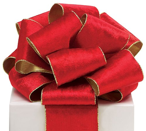 (#100 Red Wired Velvet Ribbon with Gold Edge and Gold Backing. - 4W