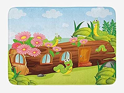 Queolszi Kids Bath Mat, Cute Friendly Smiling Worms in Wooden Tree House Animal Image, Plush Bathroom Decor Mat with Non Slip Backing, 23.6 W X 15.7 W Inches, Chocolate Sky Blue and Apple Green