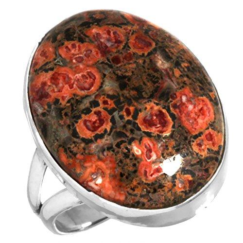 Natural Leopard Skin Jasper Gemstone Ring Solid 925 Sterling Silver Designer Jewelry Size 8