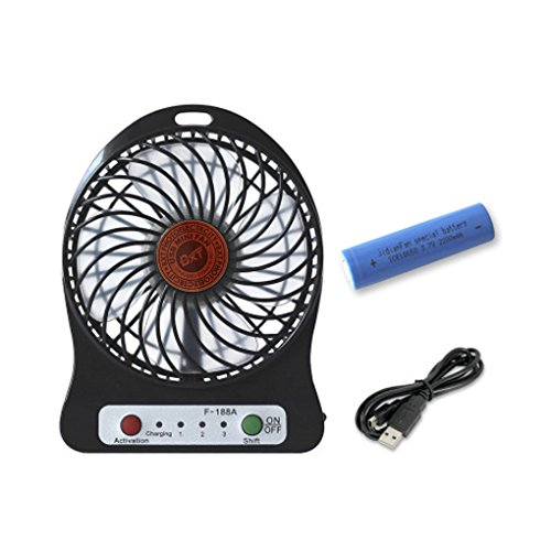 Portable 3 Speeds Rechargeable Mini USB Fan Powered by US...