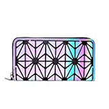 Olyphy Designer Wallet for Women Geometric Luminous Purse Long Lattice Womens Clutch with Zipper