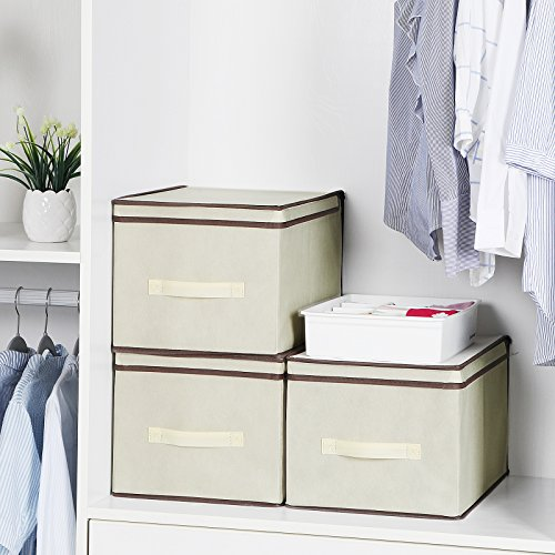 SONGMICS Set of 3 Large Storage Container with Lids Foldable Storage Box with Lids Beige URLB40M by SONGMICS (Image #2)