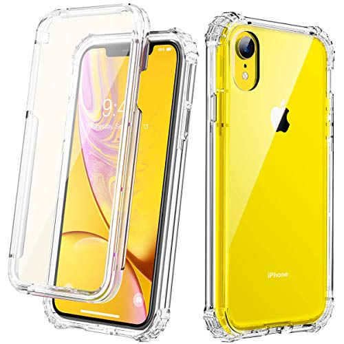Full Body Protection - Clear Designed for iPhone XR Case, Cozosun Anti-Scratch Full-Body Heavy Duty Protection with Built-in Screen Protector Rugged Armor Cover Clear Shockproof Case for iPhone XR Case 6.1 Inch 2018