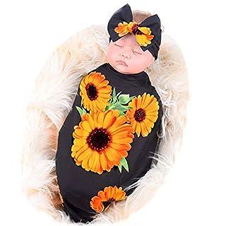 Galabloomer Newborn Receiving Blanket Headband Set Flower Print Baby Swaddle Receiving Blankets Sunflower Heart